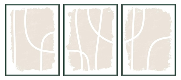 Modelos estéticos contemporâneos para impressão com formas de traçado de pincel de linha abstrata e linha em cores nude. fundo de boho pastel em parede de ilustração vetorial de estilo minimalista de meados do século