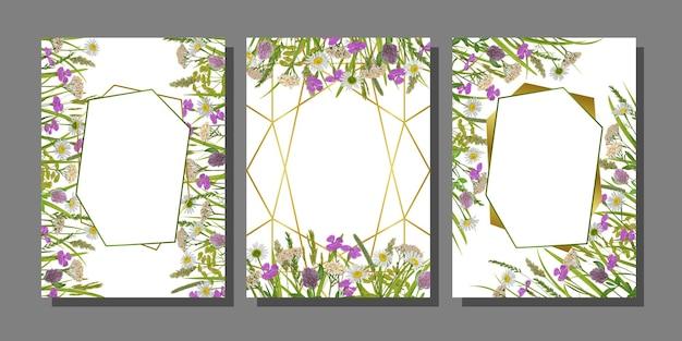 Modelos florais ajustados com ervas geométricas com moldura dourada e flores do campo para cartões de aniversário