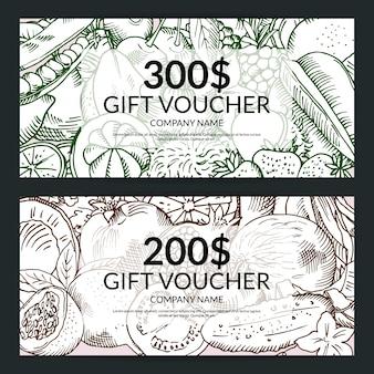 Modelos frescos do vetor da compra das frutas e legumes do handdrawn do vegetariano do vetor. voucher presente, jogo, ilustração