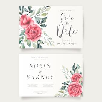 Modelos horizontais de convite de casamento floral