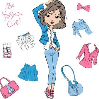 Modelos lindos da moda feminina de vetor