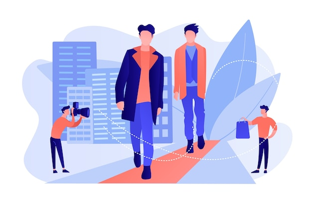 Modelos masculinos da passarela exibem roupas em desfiles de moda e eventos para a mídia. moda masculina, roupas de estilo masculino, conceito de modelos de moda masculina. ilustração de vetor isolado de coral rosa