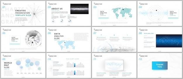 Modelos mínimos de apresentação. elementos de tecnologia em fundo branco.