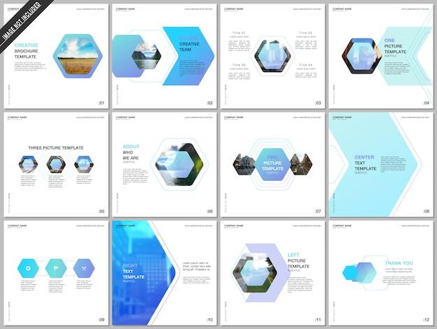 Modelos mínimos de brochura com design hexagonal colorido