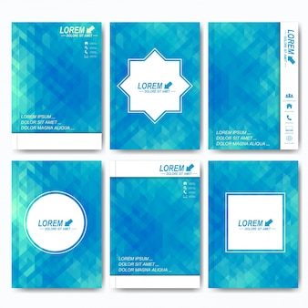 Modelos modernos de brochura, folheto, revista de capa ou relatório em tamanho a4. design de negócios, ciência, medicina e tecnologia. fundo com triângulos azuis