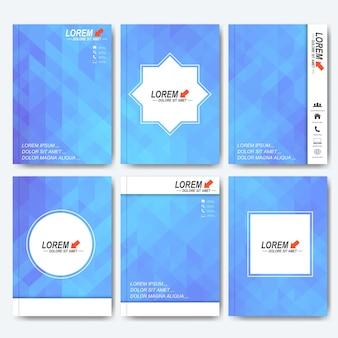 Modelos modernos de brochura, folheto, revista de capa ou relatório em tamanho a4. fundo com triângulos azuis.