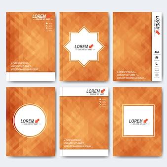 Modelos modernos para brochura, capa de revista ou relatório em tamanho a4 com triângulo amarelo