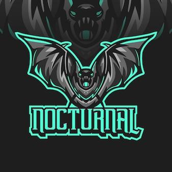 Modelos noturnos de logotipo de mascote de morcego vampiro para esportes e esportes