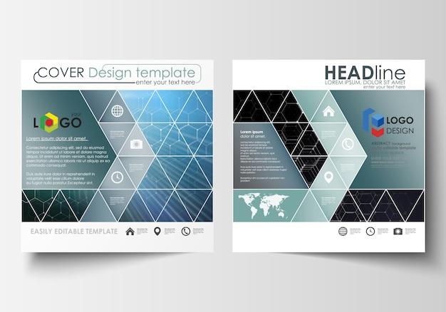 Modelos para brochura desenho quadrado, revista, folheto, relatório.