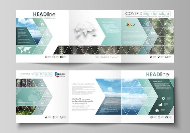 Modelos para brochuras de design quadrado dobrável em três partes.