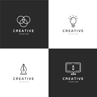 Modelos planos de logotipo de designer gráfico