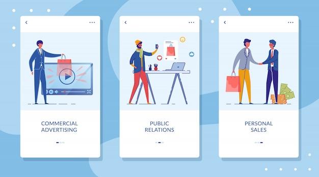 Modelos planos de tela de integração de marketing