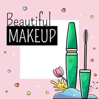 Modelos post cartão de cosméticos de maquiagem instagram