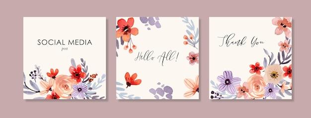 Modelos quadrados de aquarela floral roxo e vermelho adequados para postagem ou banner em mídia social