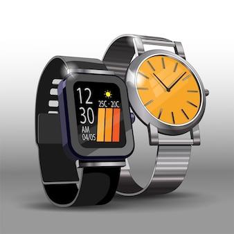 Modelos realistas de relógios digitais e mecânicos de aço.