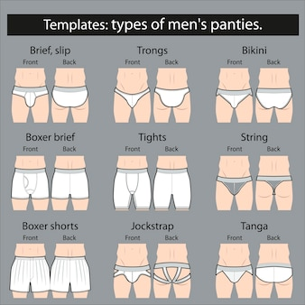 Modelos: tipos de calcinhas masculinas. brincar.
