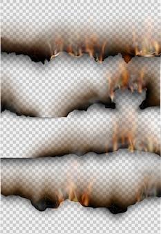 Modelos transparentes queimando modelos de papel rasgado com fogo