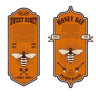 Modelos vintage de panfleto de mel natural