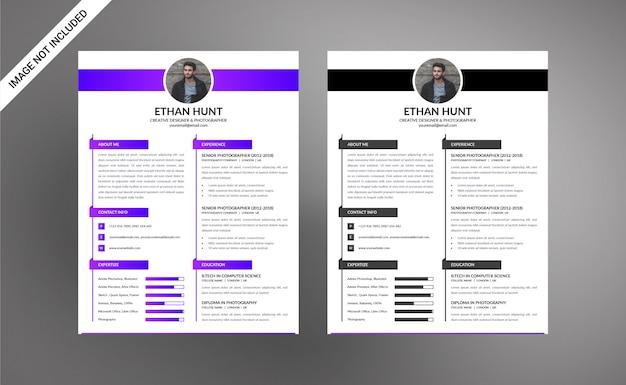Moder fotógrafo designer resume / cv