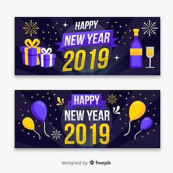 Modern 2019 banners de festa de ano novo com design plano