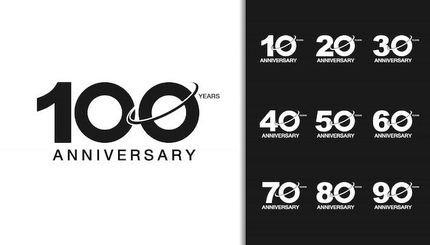 Modern anniversary celebration logotype set.