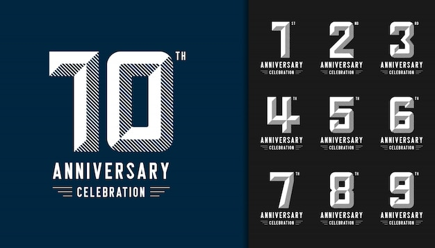 Modern anniversary celebration logotype set.