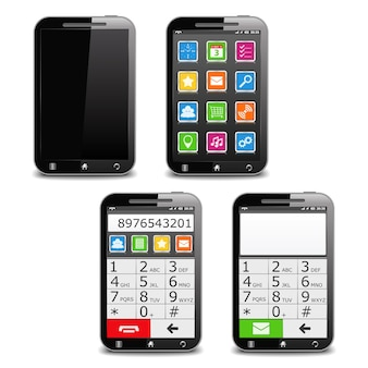 Modern black mobile phone, illustration