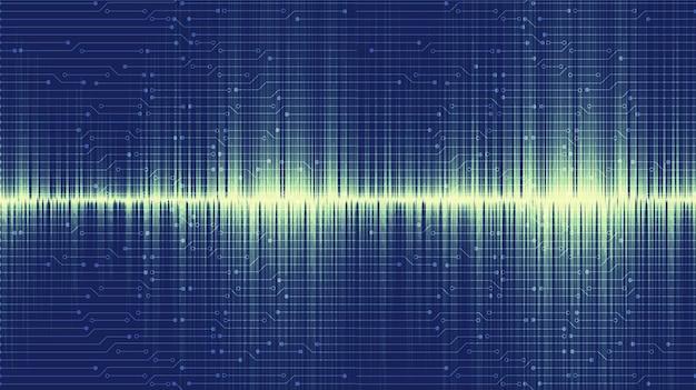 Modern bluesound wave background, tecnologia e conceito de diagrama de onda de terremoto, design para estúdio de música e ciência, ilustração vetorial.
