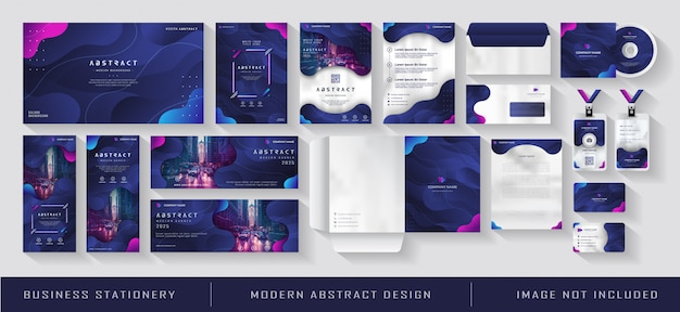 Modern business corporate identity papelaria gradiente blue navy abstract