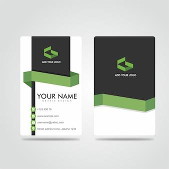 Modern bussines card potrait escuro, verde e branco