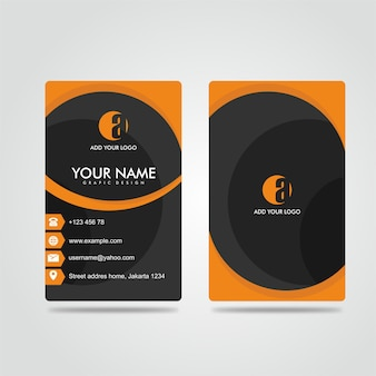 Modern bussines card potrait laranja escuro