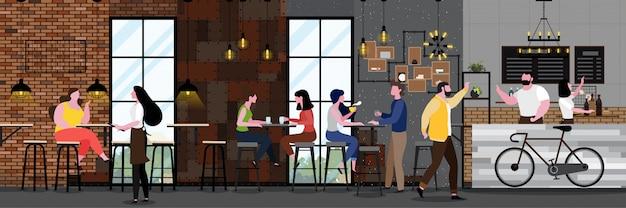 Modern cafe interior em estilo loft com cheio de cliente