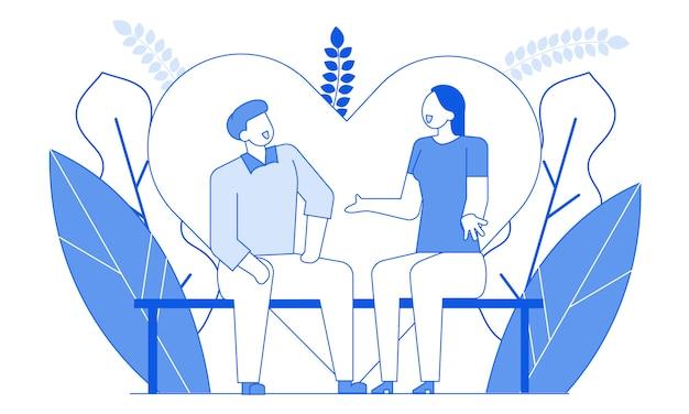 Modern cartoon flat characters people falando romântico