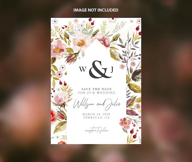 Modern casamento salvar o modelo de vetor de folhagem em aquarela de data