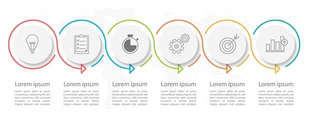 Modern círculo cronograma infográfico 6 opções ou etapas.