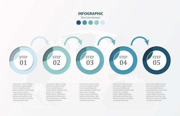 Modern círculos infográficos 5 opções modelo e ícones.