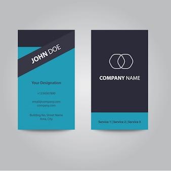 Modern clean flat design cartão de visita de negócio de cor azul prateado