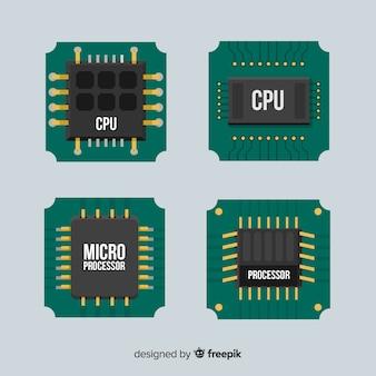 Modern cpu coleção com design plano