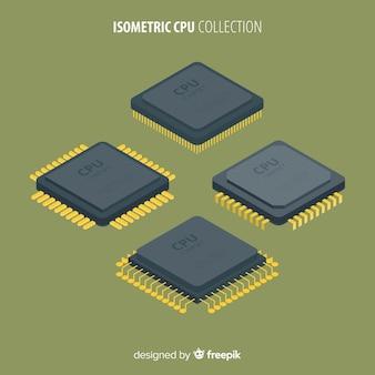 Modern cpu collection com vista isométrica