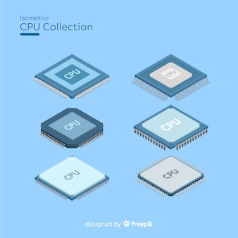 Modern cpu collection com vista isométrica