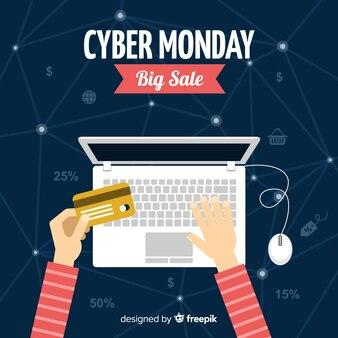 Modern cyber segunda-feira composição com design plano