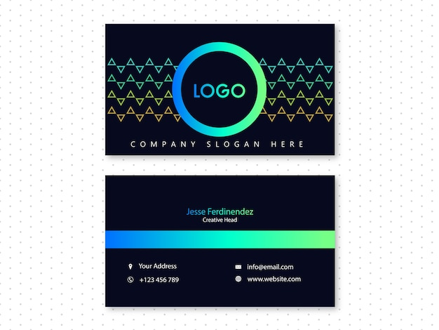 Modern dark background & blue and green shade business card