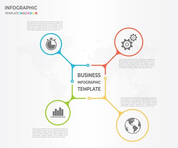 Modern diagrama infográfico círculo 4 opções