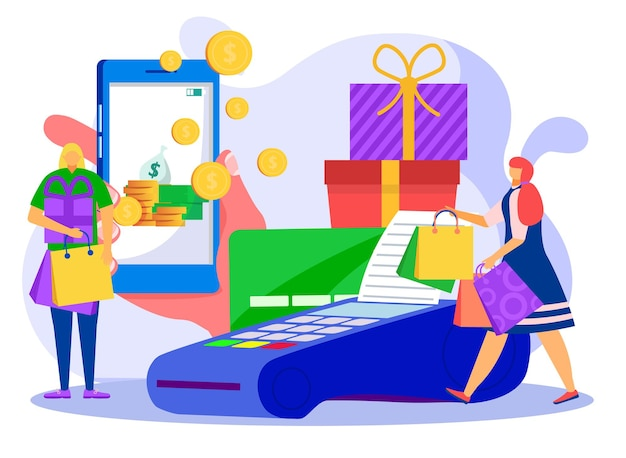 Modern finanças banco dinheiro de volta tecnologia minúscula mulher personagem compra on-line terminal plana vetor i ...
