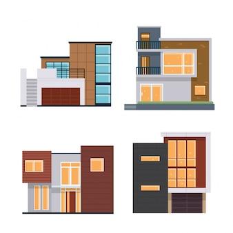 Modern flat residential house illustration set