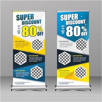 Modern geometria em pé banner rollup modelo super venda desconto, oferta especial