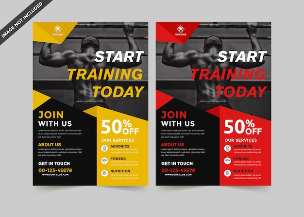 Modern gym flyer modelo prémio vector