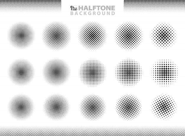 Modern halftone set of circles decoration