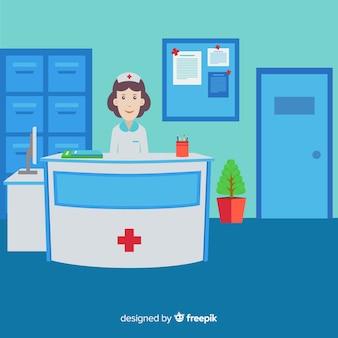 Modern hospital reception com design plano