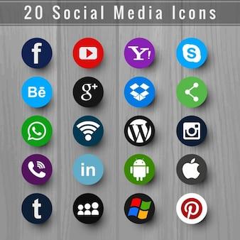 Modern ícone de mídia social set